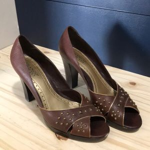 Brown heels with gold studs
